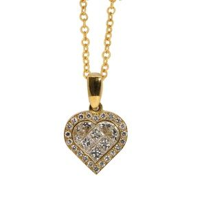 Gold Heart Diamond Pendant With 1.02 Ct Hc31000103
